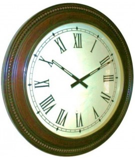 Rellotge gran rodó per paret amb marc fusta. Mesures: Ø60 cm.