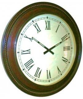 Reloj de pared grande de madera maciza en teca con forma redonda decoración para el hogar estilo rustico. Medidas: Ø60x7 cm.
