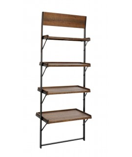 Prestatgeria de fusta i metall 4 estants. Mesures: 180x67x40 cm.