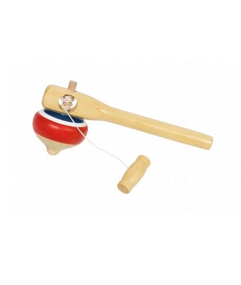 Peonza de madera con mango juego infantil de habilidad niño niña