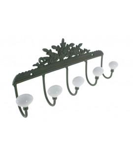 Penjador de metall amb fris en flors 5 ganxos porcellana. Mesures: 13x28x6 cm.