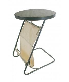 Table industrielle ronde avec porte-revues