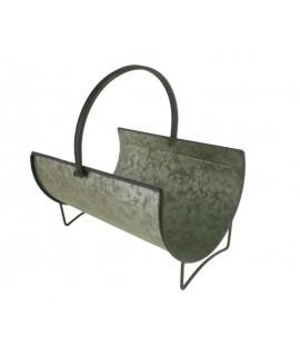 Grand bûcheron rond en métal fini zinc avec poignée. Mesures: Ø 30cm.