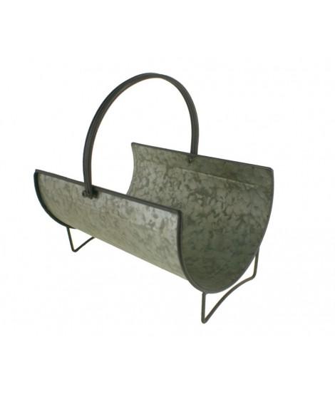 Leñero grande redondo de metal acabado en zinc con asa. Medidas: Ø 30cm.