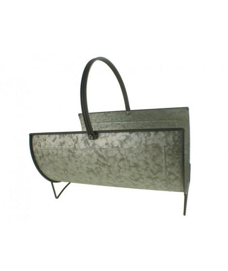 Leñero pequeño redondo de metal acabado en zinc con asa. Medidas: Ø 23cm.