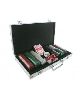Jeu de poker avec jetons multicolores et boîtier en aluminium. Mesures: 20x40 cm.