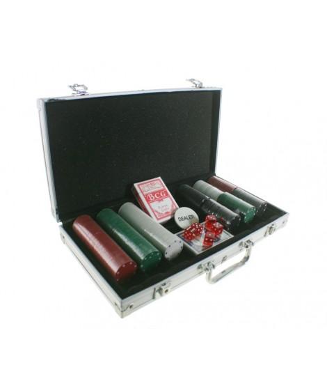 Juego de Póker con fichas multicolores y maletín aluminio. Medidas: 20x40 cm.