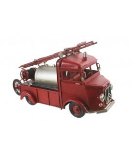 Réplique de camion de pompier en métal de style vintage. Mesures: 18x30x13cm.