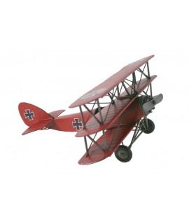 Avió triplano replica metall color vermell per a col·leccionistes.