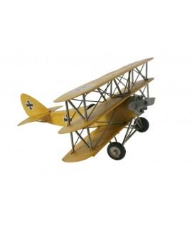 Avió triplano replica metall color groc per a col·leccionistes.