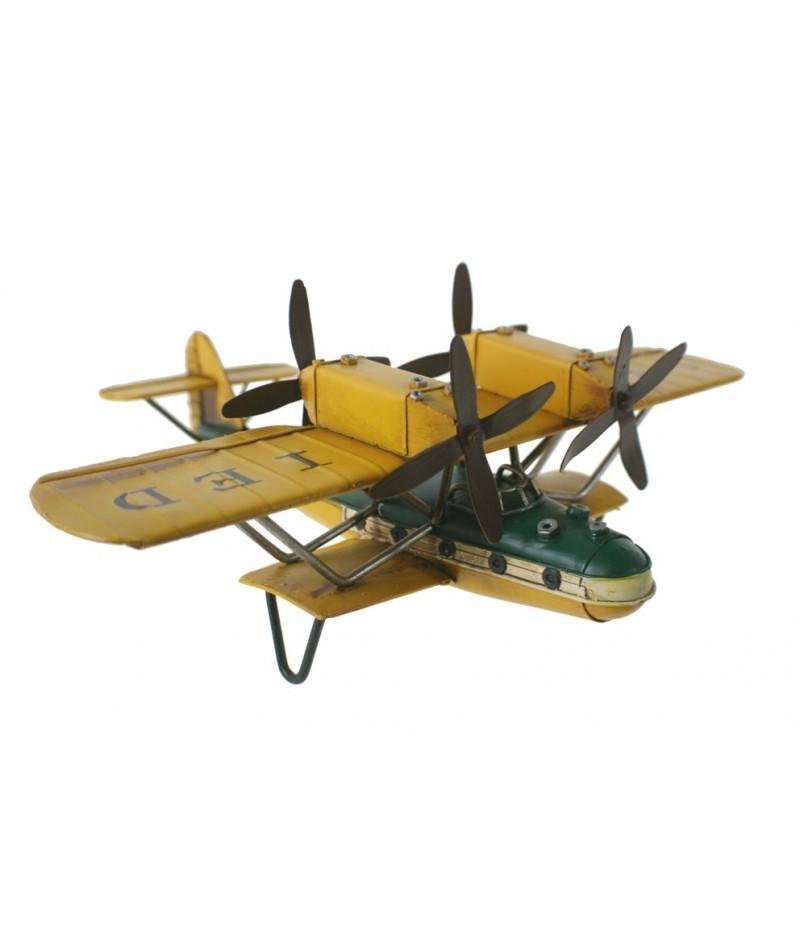 Réplica hidroavión de metal color amarillo para coleccionistas