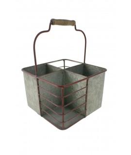 Porta cubiertos hierro cinc 4 huecos de color rojo. Medidas: 29x21x21 cm.