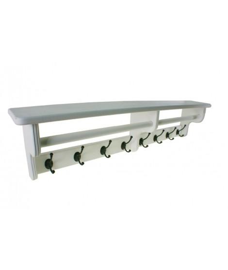 Penjador penjador blanc amb barreter i barra per bufandes de fusta massissa. Mesures: 28x117x20 cm.