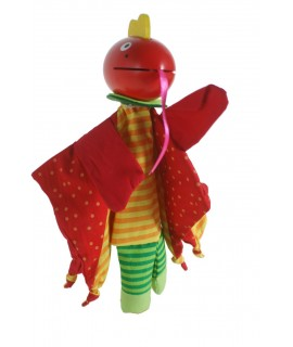 Marioneta de mano con cabeza de madera, Dragón. Medidas: 28x25x6 cm.