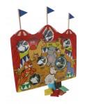 Juego de lanzamiento y puntería circo de madera. Medidas: 42x45 cm.