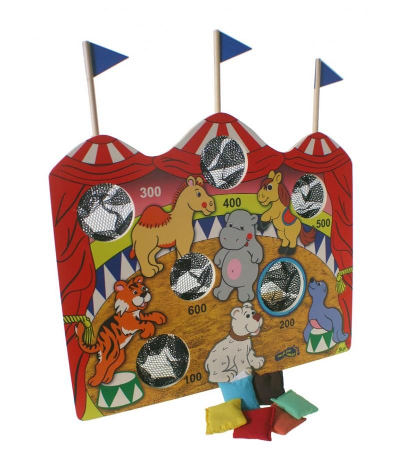 Juego de lanzamiento y puntería circo