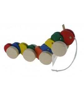 Juguete arrastre madera forma de gusano juego de cuerda para niños y niñas