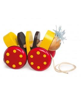 Juguete de arrastre de madera para niños juego infantil educativo de cuerda con forma de gusano pequeño. Medidas: 7x8x14 cm.