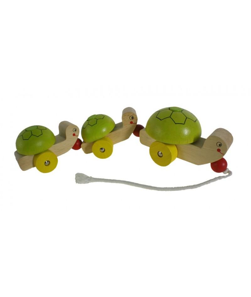 Juguete arrastre madera forma tortuga juego de cuerda para niños niñas