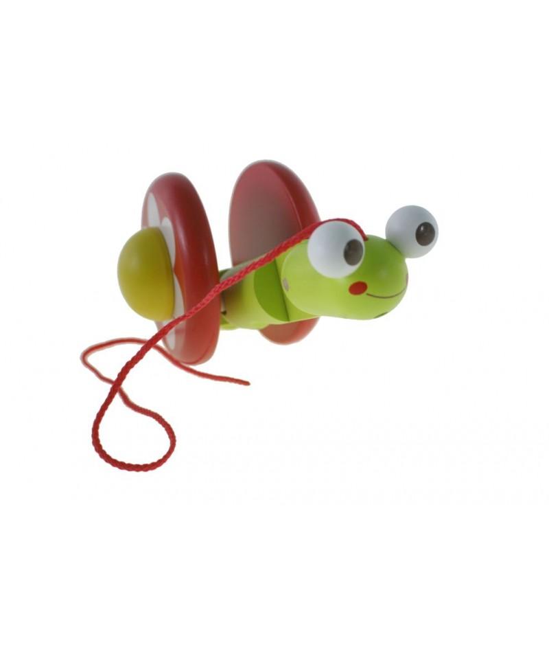 Juguete arrastre madera forma caracol juego de cuerda para niños niñas