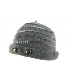 Gorro de invierno de lana forma de casquete color gris para mujer ideal para ciudad. Medidas: Talla Pequeña. Adulto.