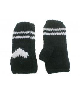 Guantes mitones de invierno calientes color negro con dibujo estilo nórdico para regalo mujer. Talla única adulto.