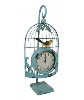 Horloge de table vintage en métal vert en forme de cage pour jardin