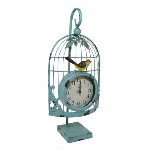Reloj sobremesa metálico forma de jaula color verde vintage para jardín
