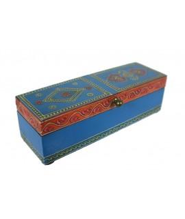 Caja madera pintura relieve color azul rojo