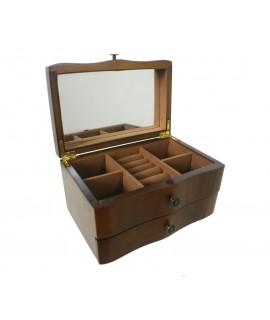 Joyero madera color avellana cajón y espejo