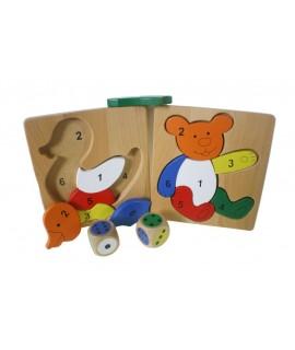 Puzzle en bois couleurs formes et nombres