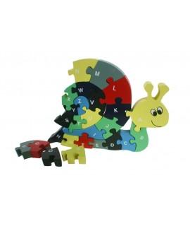 Puzzle en bois gigogne en forme d'escargot en lettres.