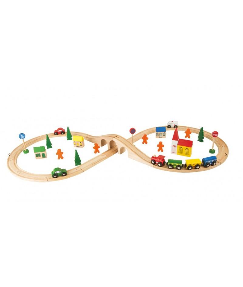 Tren de madera con pista para montaje