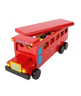 Autobús de madera maciza color rojo con piezas móviles. Medidas: 14x35x13 cm.