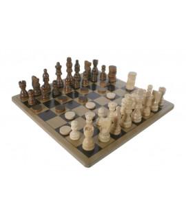 Escacs i dames fusta en caixa de metall
