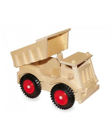 Camión de madera natural con ruedas de plástico