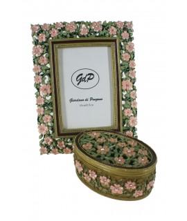 Conjunt de marc per a foto i capseta en resina estil romàntic.