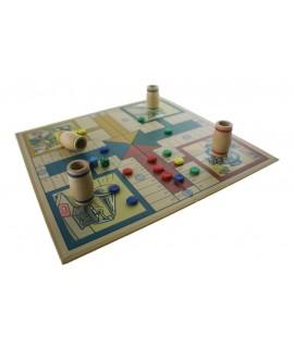 Joc de Parxís vintage en caixa de cartró amb accessoris de fusta