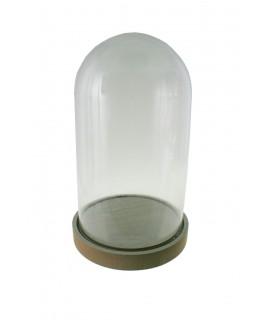 Cúpula campana de cristal con base madera para exposición de figuras