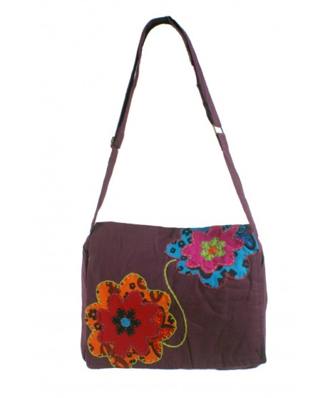 Bolso multiuso étnico bordado hippie asas tejido algodón color granate