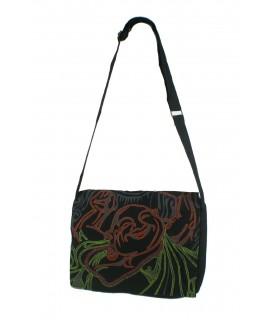 Sac multi-usages ethnique hippie brodé avec rabat et anses en tissu coton noir. Dimensions: 29x35 cm. Environ.