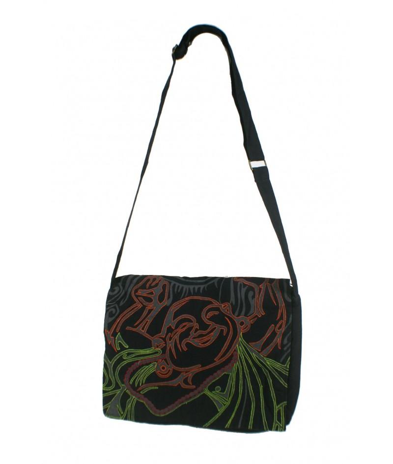 Hippie brodé sac ethnique multi-usages poignées coton couleur noir