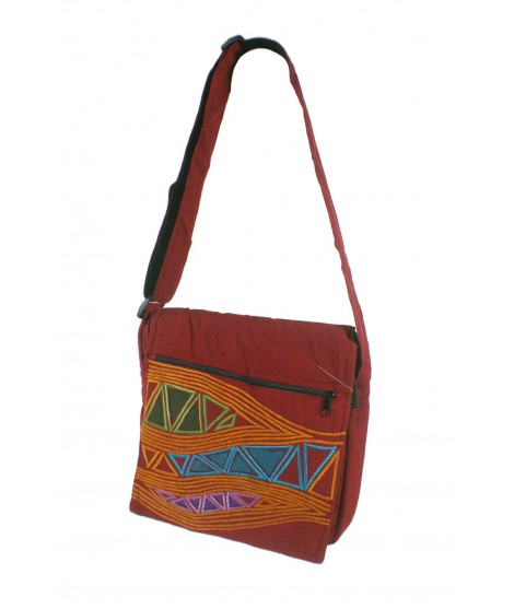 Bolso multiuso bordado étnico hippie asas tejido algodón color granate