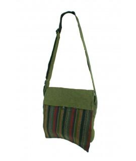 Bolso multiuso diseño étnico hippie con solapa y asas de tejido algodón color verde. Medidas: 29x35 cm. Aprox.
