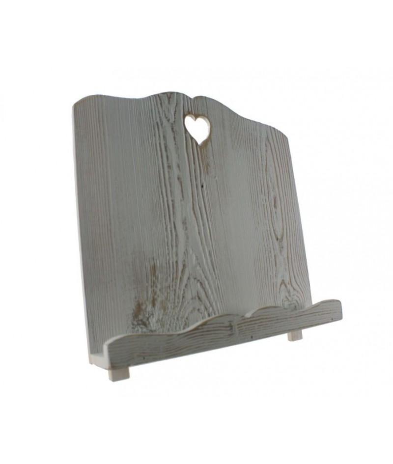 Atril de madera maciza envejecida color blanco forma corazón