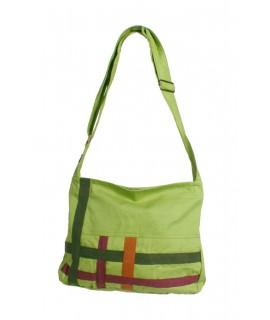 Sac hippie en coton ethnique vert multi-usages avec fermeture zippée