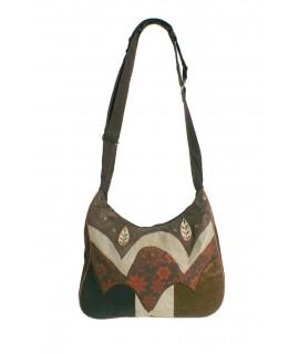 Bolso multiuso étnico hippie de algodón color marrón cierre cremallera