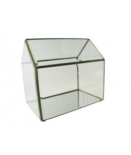 Urna tipo casa de cristal  biselado con perfil metálico. Medidas: 30x20x30 cm.