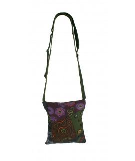 Bolso multiuso étnico bordado hippie asas tejido algodón color verde