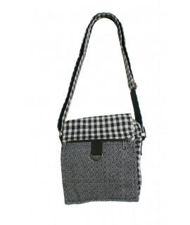 Petit sac de design ethnique hippie avec rabat et poignées de couleur noir blanc